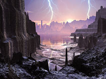 Violent Storm over Distant Alien City Stock Image