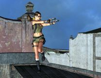 Violent video game. A female assasin with gun holsters with guns Royalty Free Stock Photo