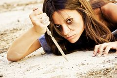 Violent woman Royalty Free Stock Image