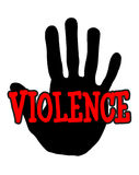 Violenza di Handprint Immagini Stock