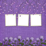 Violet abstract background with frames. Violet abstract background with suspended beads and frames Royalty Free Stock Photos