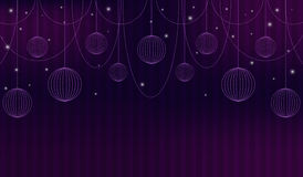 Violet abstract background with theatre curtain, beads, sparkles and spheres. Vector illustration. Royalty Free Stock Photos