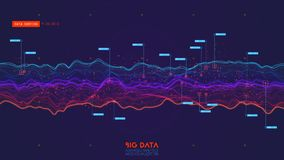 Violet Abstract Binary Wave. 3D Big Data Visualization. Intricate Financial Data Threads Analysis. Business Analytics Royalty Free Stock Image