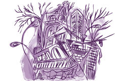 Violet abstract city Royalty Free Stock Photography