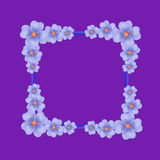 Violet background with border and flowers. Illustration. Stock Images