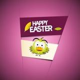 Violet Background con el pollo verde divertido Fotos de archivo libres de regalías