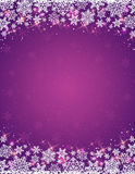 Violet background with  frame of snowflakes Stock Images