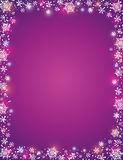 Violet background with  frame of snowflakes Royalty Free Stock Images