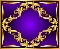 Violet background with gold(en) ornament Stock Images