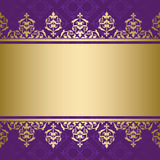 Violet vector background with golden ornament Royalty Free Stock Photos