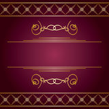 Violet background with vector golden decorative ornaments Royalty Free Stock Images