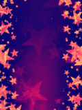 Violet background with shining golden stars Royalty Free Stock Image