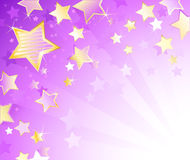 Violet background with stars. Light violet background with gold brilliant stars royalty free illustration