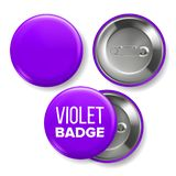Violet Badge Mockup Vector Pin Brooch Violet Button Blank Twee Kanten Voor, Achtermening Het brandmerken Ontwerp 3D Realistisch royalty-vrije illustratie