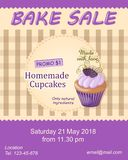 Violet bake sale promotion flyer with cupcake Royalty Free Stock Photos