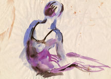 Violet ballerina, drawing Royalty Free Stock Image