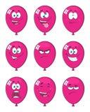 Violet Balloons Cartoon Mascot Character med uttryck stock illustrationer