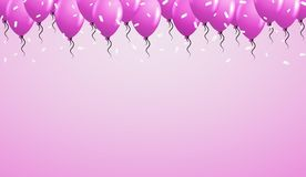 Violet balloons on violet background Stock Photos