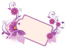Violet  banner with flowers, leaves  and ornament Stock Photos