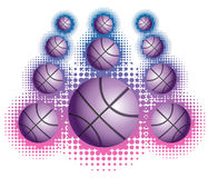 Violet basketballs with haftone Stock Photo