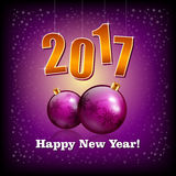 Violet baubles and 2017 New Year numbers. Illustration of Violet baubles and 2017 New Year numbers Royalty Free Stock Images