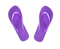 Violet beach shoes flip-flop. Isolated on white royalty free stock images
