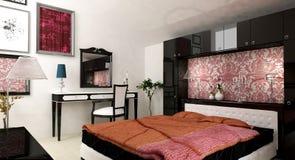 Violet bedroom. Interior design rendering of modern bedroom Royalty Free Stock Photo