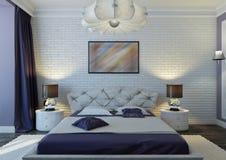 Violet bedroom Stock Photo