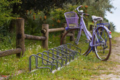 Violet bike with basket and  bicycle racks near  wooden fence Royalty Free Stock Image