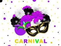 Violet black bright flowers and black gold carnival mask on white dotted background. Mallow and rudbeckia. Mardi gras banner. Carn. Ival flower banner Stock Photos