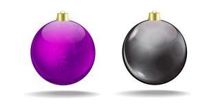 Violet and black Christmas tree balls. Vector. Royalty Free Stock Photos