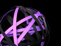 Violet and black rings in the abstract sphere. Abstract futuristic shape with violet and black rings on black background, 3d rendering royalty free illustration