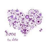 Violet bloemenhart royalty-vrije illustratie