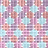 Violet and blue geometry round seamless pattern. Vector illustration for background, decoration, surface design Stock Photos