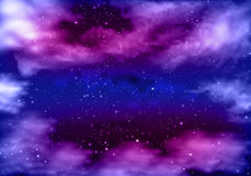 Violet blue night sky. Vector art illustration Stock Photography