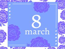 Violet blue women`s day with roses frame 8 march. Violet greeting card women`s day with roses frame 8 march vector illustration