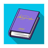 Violet book icon in flat style  on white background. Books symbol stock vector illustration. Stock Images