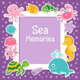 Violet border with cute sea animals. Sea frame with bubbles and ocean animals. Vector background Stock Photo