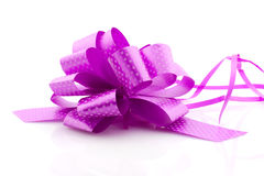 Violet bow, isolated. Decoration ribbon on white background Stock Photography