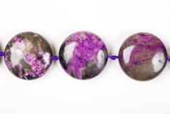 The Violet bracelet beads. Charoit. Royalty Free Stock Photos
