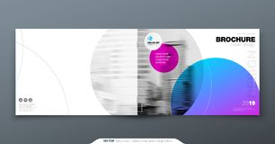 Violet Brochure design. Horizontal cover template for brochure, report, catalog, magazine. Layout with gradient circle. Shapes and abstract photo background Stock Image