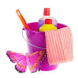 Violet bucket for cleaning Royalty Free Stock Photography
