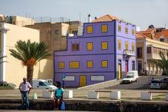 Violet building in Mindelo, Sao Vicente Stock Photos