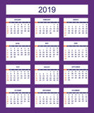 Violet business american calendar for wall year 2019 Stock Image