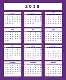 Violet business american calendar for wall year 2018. Classic american calendar for wall year 2018 on the violet background. English language. Week starts on Stock Image