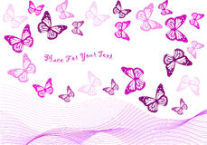 Violet butterflies and blend waves isolated. Color backdrop design with violet butterflies and blend waves isolated on white royalty free illustration