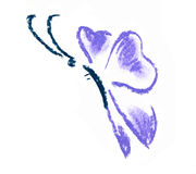 Violet butterfly simple illustration Stock Photography