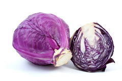Violet cabbage and half. Isolated on the white background Royalty Free Stock Image