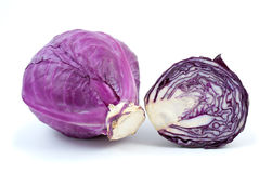 Violet cabbage and half. Isolated on the white background Royalty Free Stock Images