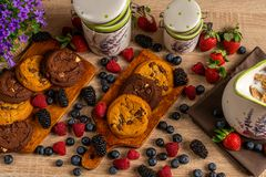 Violet campanula and muesli milk in jug with cookies and wild berries on dark wooden background royalty free stock photos